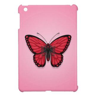 Bandera albanesa de la mariposa en rosa