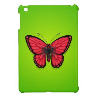 Bandera albanesa de la mariposa en verde