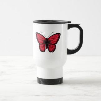 Bandera albanesa de la mariposa taza de café