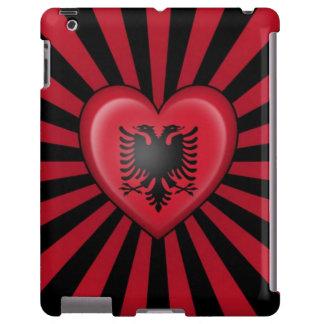 Bandera albanesa del corazón con la explosión de l