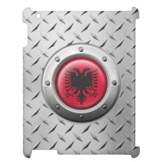 Bandera albanesa industrial con el gráfico de acer