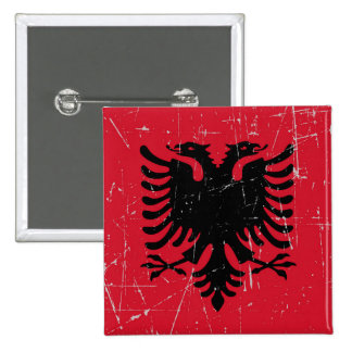 Bandera albanesa rascada y rasguñada pins