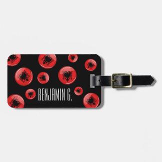 Bandera albanesa redonda brillante etiquetas maleta