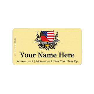 Bandera Alemán-Americana del escudo Etiqueta De Dirección