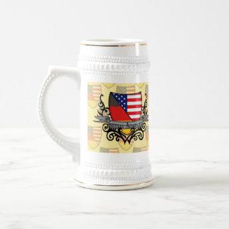 Bandera Alemán-Americana del escudo Jarra De Cerveza