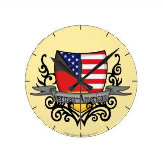 Bandera Alemán-Americana del escudo Reloj De Pared