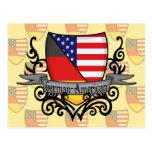 Bandera Alemán-Americana del escudo Tarjetas Postales