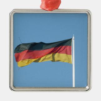 Bandera alemana adorno navideño cuadrado de metal