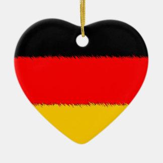 Bandera alemana adorno navideño de cerámica en forma de corazón