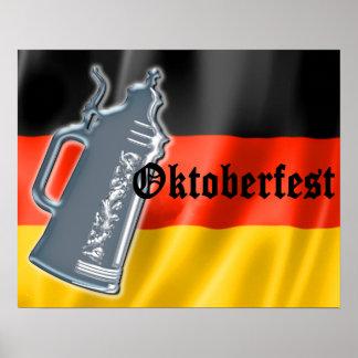 Bandera alemana con Oktoberfest y la cerveza Stein Poster
