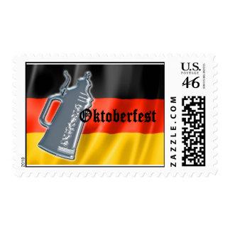 Bandera alemana con Oktoberfest y la cerveza Stein Sello