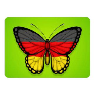 """Bandera alemana de la mariposa en verde invitación 5"""" x 7"""""""