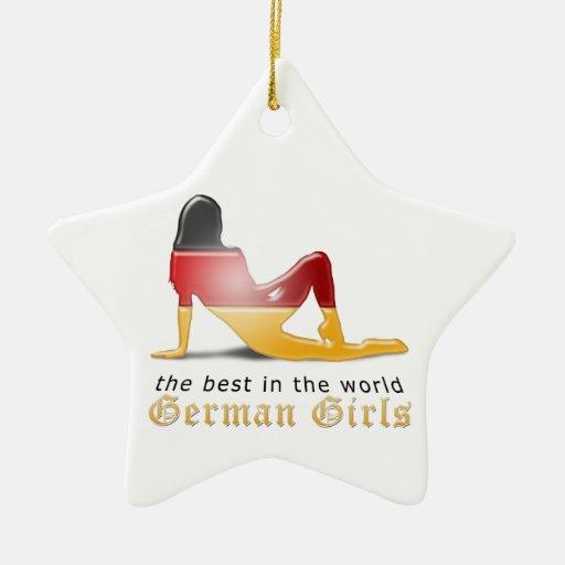 Bandera alemana de la silueta del chica adornos de navidad
