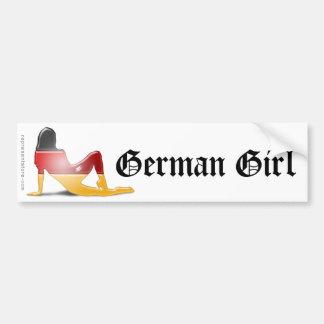 Bandera alemana de la silueta del chica pegatina para auto