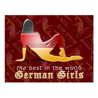 Bandera alemana de la silueta del chica tarjeta postal