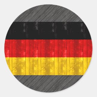 Bandera alemana de madera pegatina redonda