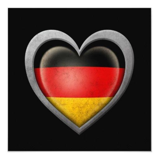 """Bandera alemana del corazón con efecto del metal invitación 5.25"""" x 5.25"""""""