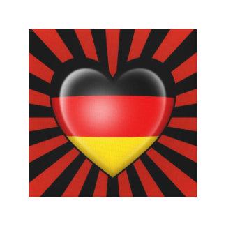 Bandera alemana del corazón con la explosión de la impresion de lienzo