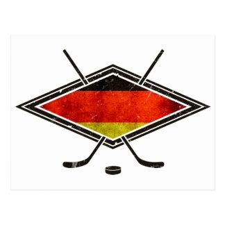Bandera alemana del hockey sobre hielo postal