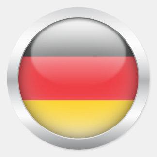 Bandera alemana en orbe pegatinas redondas