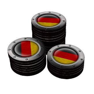 Bandera alemana industrial con el gráfico de acero fichas de póquer