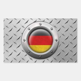 Bandera alemana industrial con el gráfico de acero rectangular pegatinas