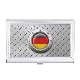 Bandera alemana industrial con el gráfico de acero caja de tarjetas de negocios