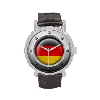 Bandera alemana industrial con el gráfico de acero reloj