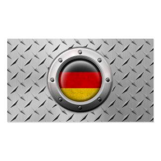Bandera alemana industrial con el gráfico de acero tarjeta de negocio