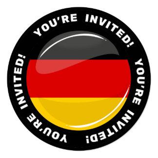 Bandera alemana redonda brillante invitación 13,3 cm x 13,3cm