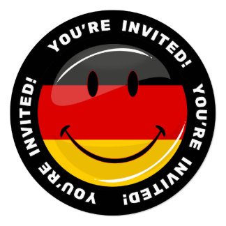 """Bandera alemana sonriente invitación 5.25"""" x 5.25"""""""