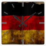 Bandera alemana - vintage reloj cuadrado