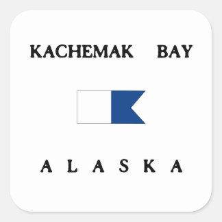 Bandera alfa de la zambullida de Alaska de la Pegatina Cuadrada