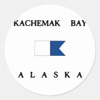 Bandera alfa de la zambullida de Alaska de la Pegatina Redonda