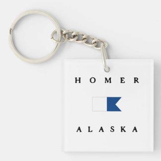 Bandera alfa de la zambullida de Alaska del home Llavero Cuadrado Acrílico A Doble Cara