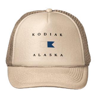 Bandera alfa de la zambullida de Alaska del Kodiak Gorros