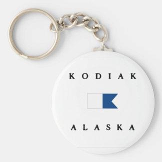 Bandera alfa de la zambullida de Alaska del Kodiak Llavero Redondo Tipo Pin