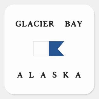 Bandera alfa de la zambullida de Alaska del Pegatina Cuadrada