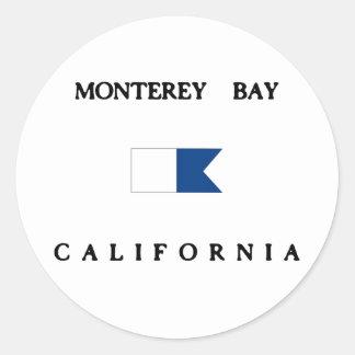 Bandera alfa de la zambullida de California de la Pegatina Redonda