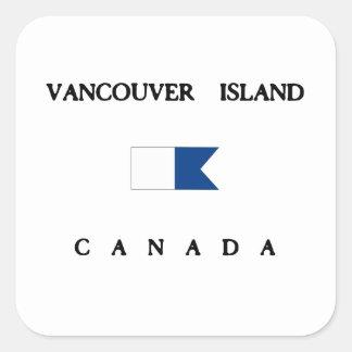 Bandera alfa de la zambullida de Canadá de la isla Pegatina Cuadrada