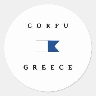 Bandera alfa de la zambullida de Corfú Grecia Etiqueta Redonda