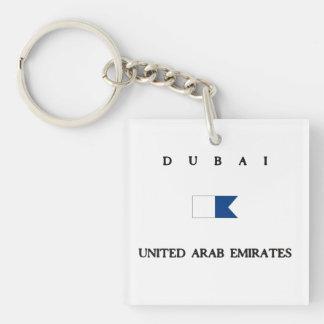 Bandera alfa de la zambullida de Dubai United Arab Llavero Cuadrado Acrílico A Doble Cara