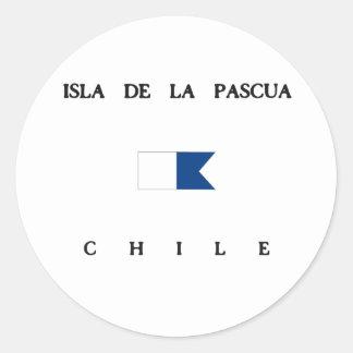 Bandera alfa de la zambullida de Isla de la Pascua Pegatina Redonda