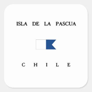 Bandera alfa de la zambullida de Isla de la Pascua Pegatina Cuadrada