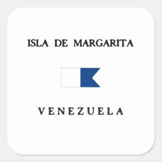 Bandera alfa de la zambullida de Isla de Margarita Pegatina Cuadrada