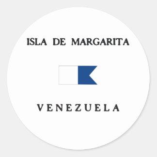 Bandera alfa de la zambullida de Isla de Margarita Pegatina Redonda