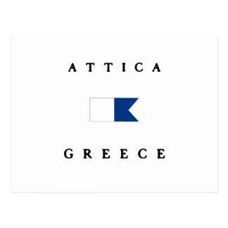 Bandera alfa de la zambullida de la Atica Grecia Postal
