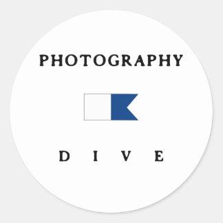 Bandera alfa de la zambullida de la fotografía etiquetas redondas