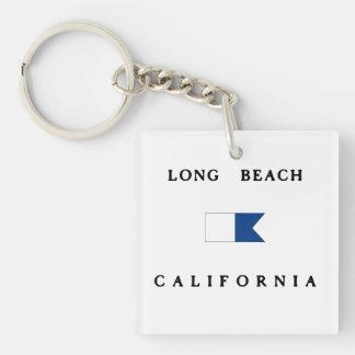 Bandera alfa de la zambullida de Long Beach Llavero Cuadrado Acrílico A Doble Cara