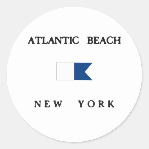 Bandera alfa de la zambullida de Nueva York de la Pegatina Redonda